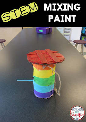 STEM Challenge: Build a bird feeder and decorate it! We called this finished feeder the Life Saver model. The team learned a lot about mixing paint colors!