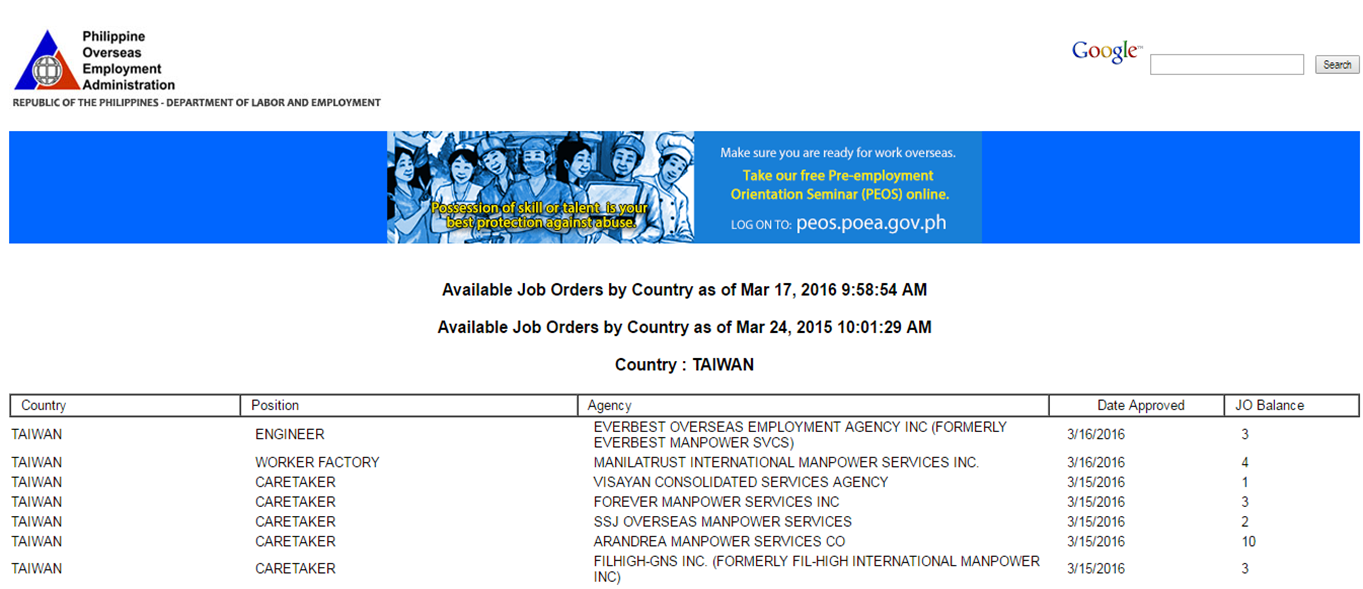 poea approved job orders for taiwan for further information about the job or to apply for the job applicants contact the agency assigned through e mail phone or website