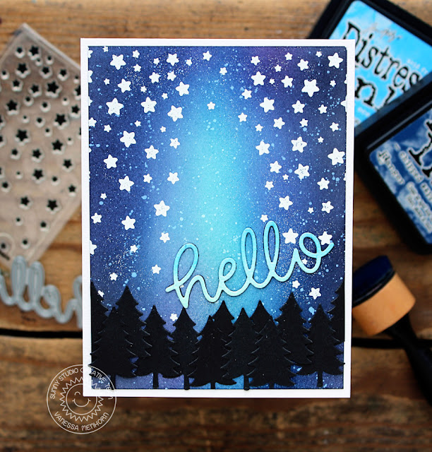 Sunny Studio Stamps: Cascading Stars Night Sky Hello Card by Vanessa Menhorn