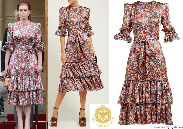 Princess Beatrice wore The Vampire's Wife Veneration floral-print silk-charmeuse midi dress