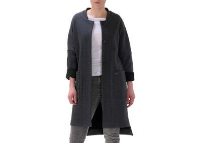 szary płaszcz dresowy polska moda Freeshion trendy 2016 płaszcz z kieszeniami