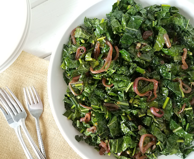 Want to include more kale in your diet but don't know how? Balsamic glazed shallots give amazing flavor to this vegetable side dish with lacinato kale (a.k.a. dino kale, Tuscan kale and black cabbage) as the primary ingredient! It's quick and easy to make as well as gluten-free, vegan, Paleo, low-carb, keto and Whole30 friendly. This Sautéed Kale with Balsamic Glazed Shallots will make you love kale!