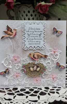 ODBD Spread Your Wings, ODBD Custom Birds and Nest Dies, ODBD Butterfly and Bugs, ODBD Custom Butterfly and Bugs Dies, ODBD Shabby Rose Paper Collection, ODBD Customer Card of the Day by Diane Shull