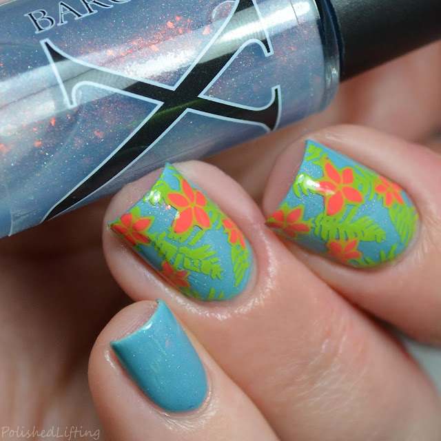 tropical flower unicorn pee nail art