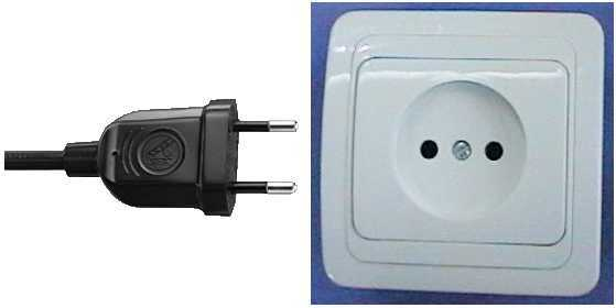 European power plug and outlet