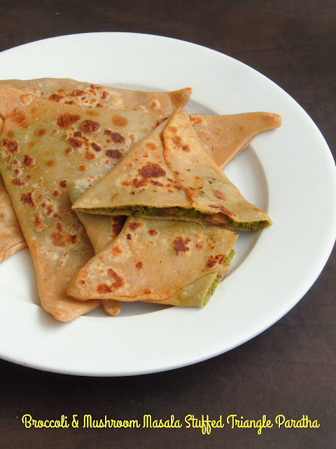 Broccoli & Mushroom Masala Stuffed Triangle Paratha, Stuffed Triangle Paratha