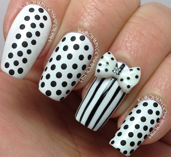 Stylish and Cute Nail Designs with Bows and Diamonds for ...