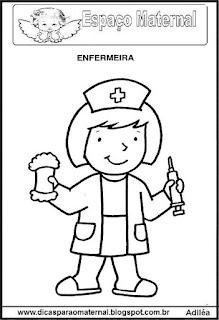 Desenho de enfermeira para colorir