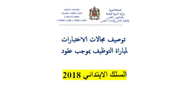توصيفات اختبارات مباريات التوظيف بموجب عقود 2018 ( السلك الابتدائي )