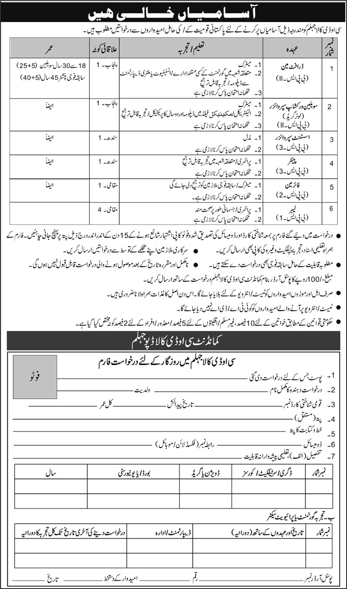 Vacant Positions in COD Kala Jhehlum under Pakistan Army