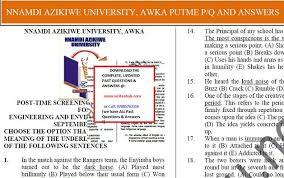 Unizik Post Utme Past Questions Pdf