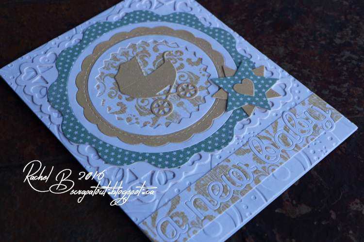 Scrapatout - Handmade card, Baby, Impression Obsession, Spellbinders, Cover-a-card