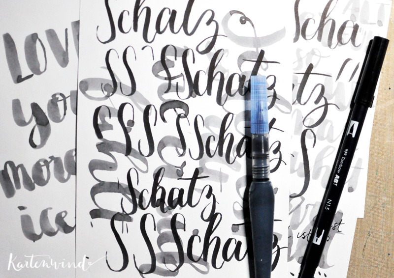 Valentine s brush calligraphy kartenwind