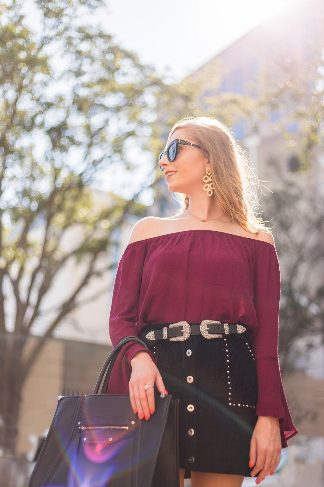 lulus corduroy studded skirt