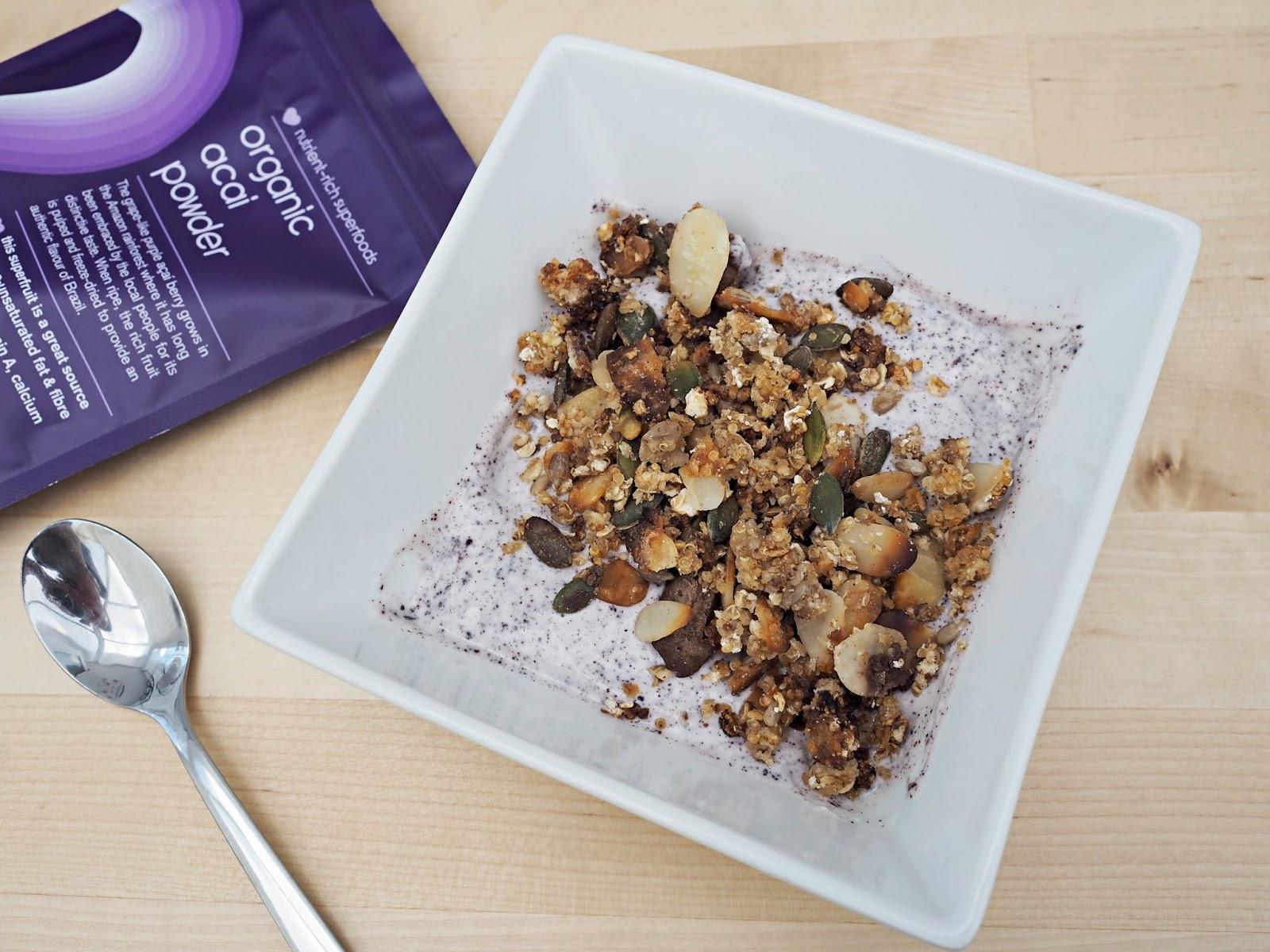 acai powder, yoghurt and quinoa granola