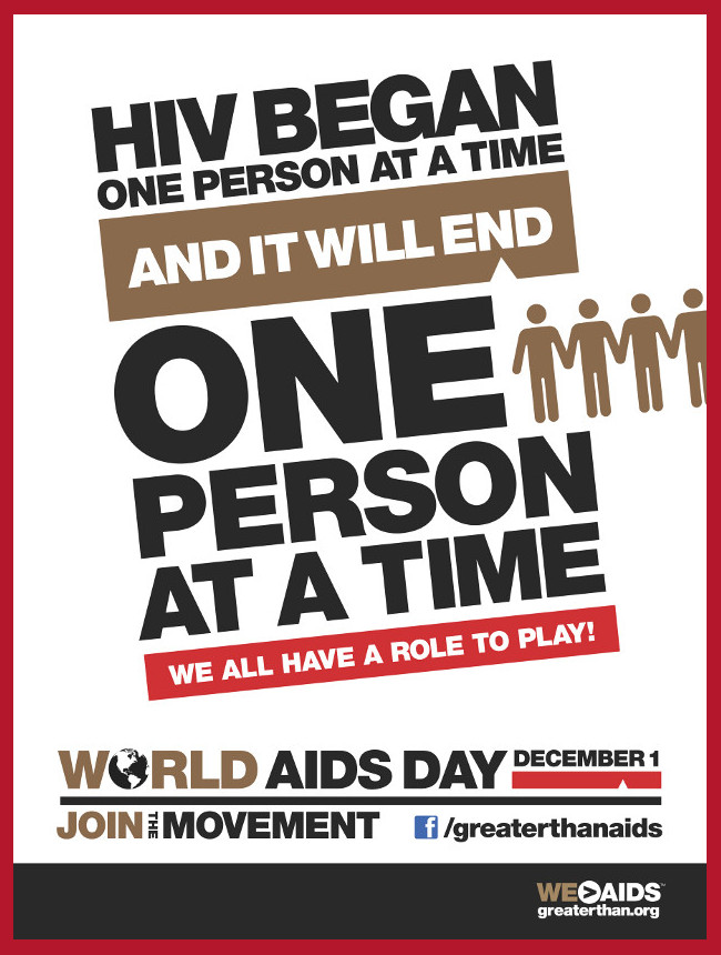 "World Aids Day 2012 Awareness poster ""one person at a time"""