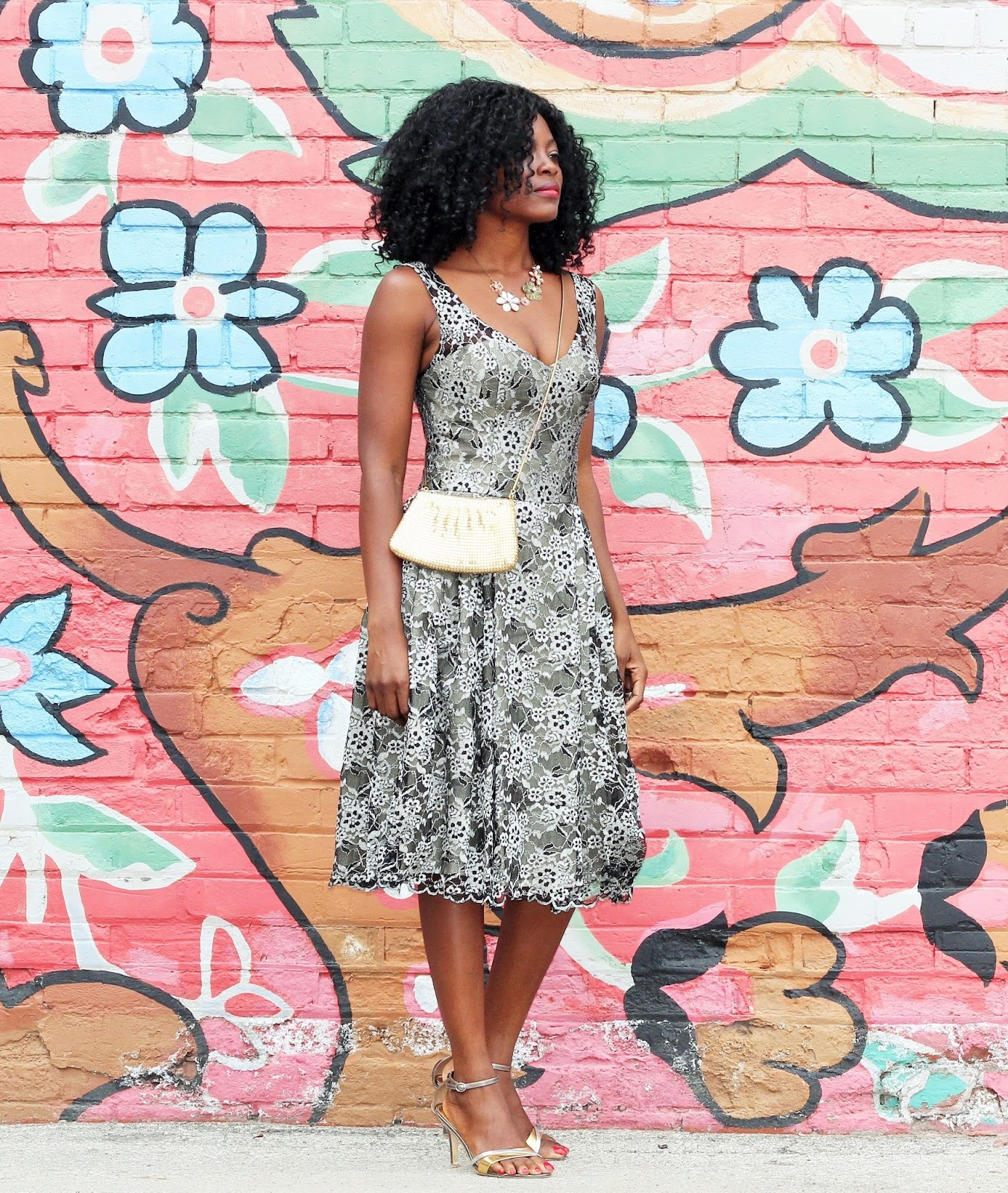 SUMMER WEDDING GUEST OUTFIT: BLACK AND LACE CLAUDETTE SWING DRESS