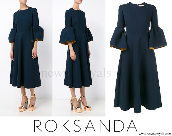 Crown Princess Mary wore ROKSANDA Bell-Sleeved Crepe Dress