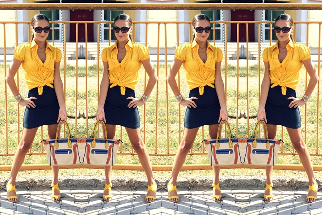 yellow shirt and navy skirt outfit ideas