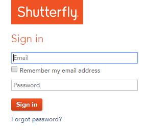 My Shutterfly Login Page
