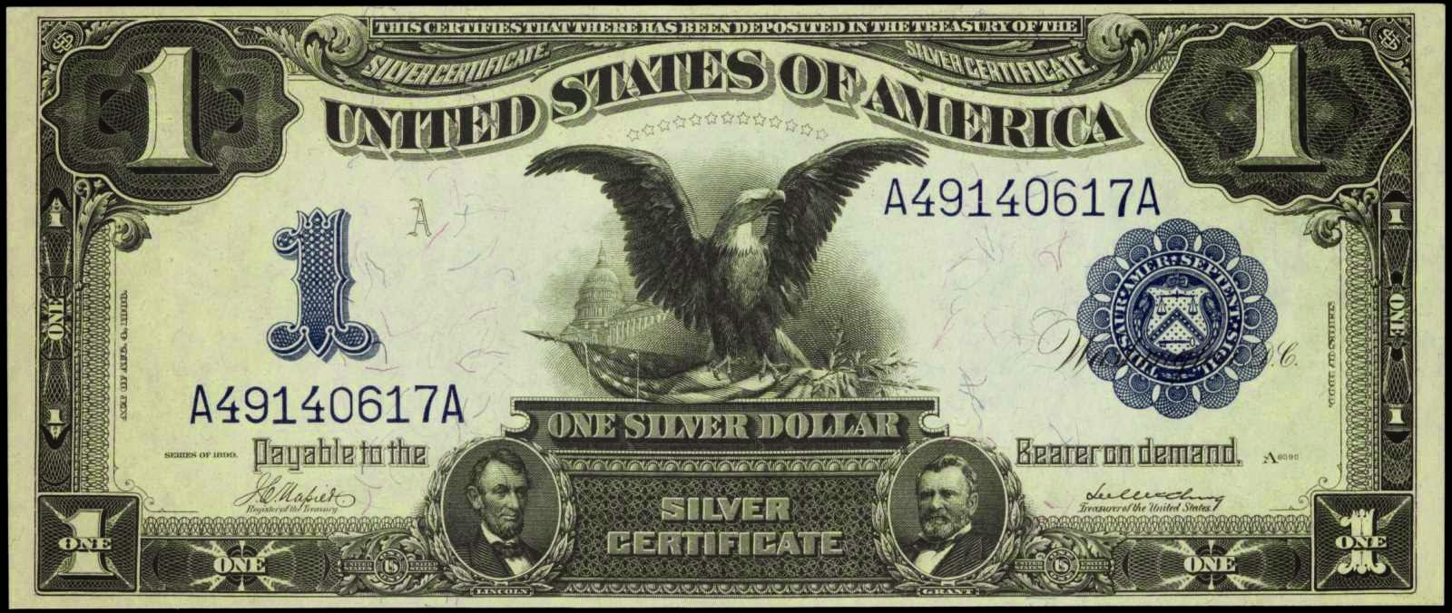 US paper money 1899 One Dollar Silver Certificate Black Eagle