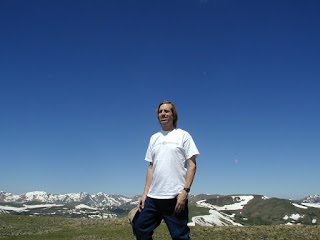 Jess Stryker at summit of Tundra Trail in Rocky Mountain N.P. at 12, 304 ft elevation.