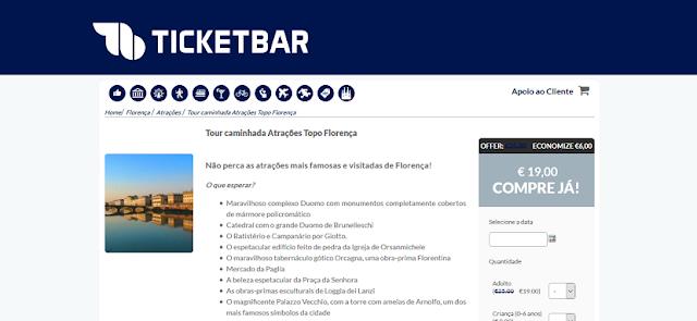 Ticketbar para ingressos para o tour caminhada atrações topo Florença