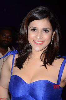 Mannara Chopra in Deep Neck Blue Gown at Zee Telugu Apsara Awards ~ Exclusive
