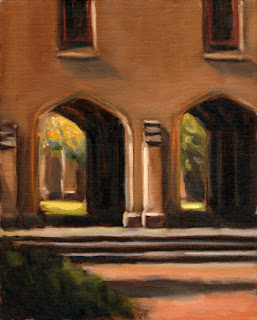 Oil painting of two archways that form part of a Gothic Revival sandstone building.