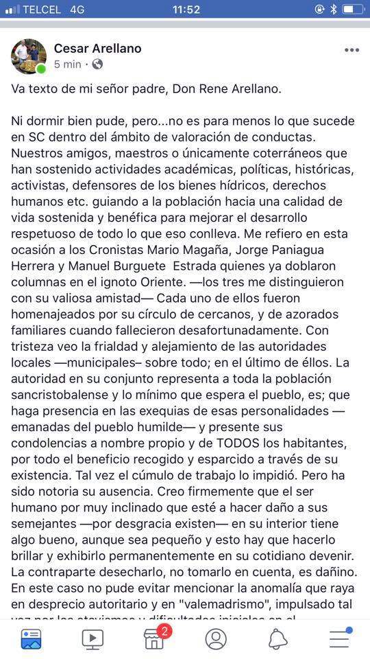 Texto de mi señor padre, Don Rene Arellano.