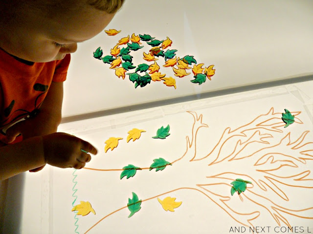 Fall leaf activities on the light table - great for toddlers and preschoolers