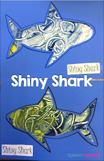 Paint tin foil  to make this shiny shark for your ocean theme! Read this post for 14 terrific speech and language shark week ideas for preschool and kindergarten #speechtherapy #preschool #kindergarten www.speechsproutstherapy.com