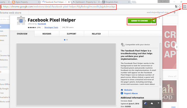 Pasang facebook pixel helper