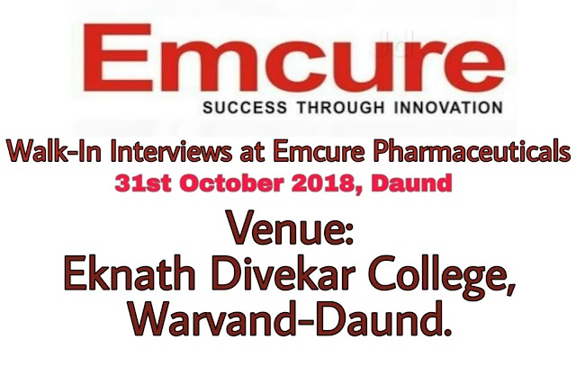Emcure Pharmaceuticals   Walk-In for Production & Engineering   31st October 2018   Daund