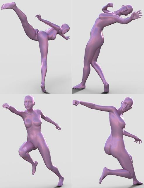 Elegant Fighting Poses for Genesis 8 Female
