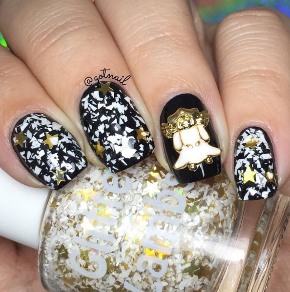 """NEW- """"Angel Cookies"""" Glitter Nail Polish- Christmas Indie Custom Handmade Glitter Toppers by Glitter Lambs Swatch by @gotnail"""