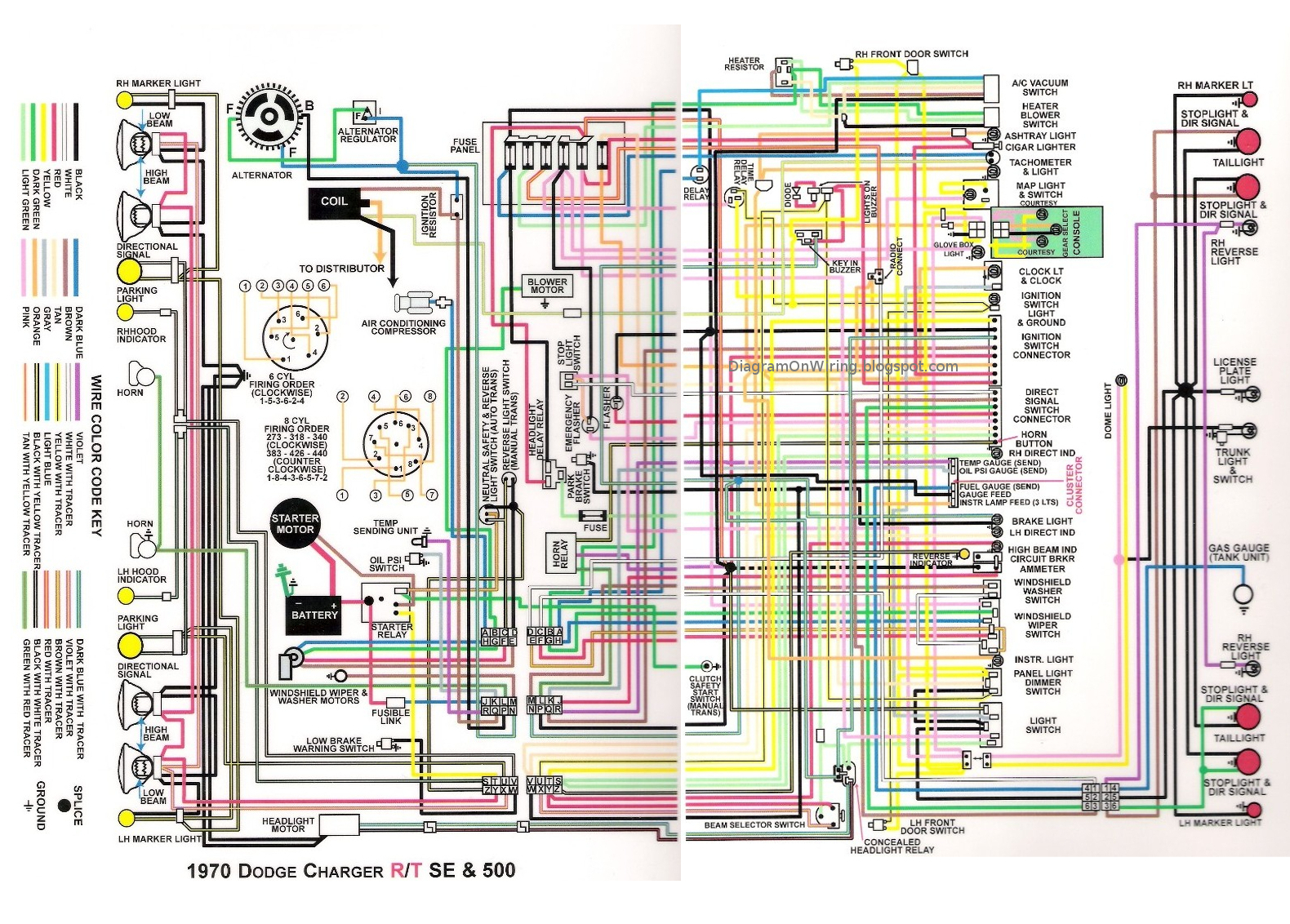 Dodge Charger RT SE and 500 1970 Complete Wiring Diagram All