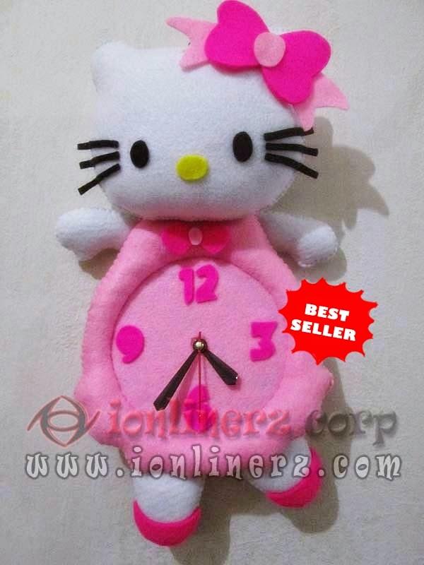 Jam Dinding Flanel Karakter Kartun Boneka Hello Kitty Pink