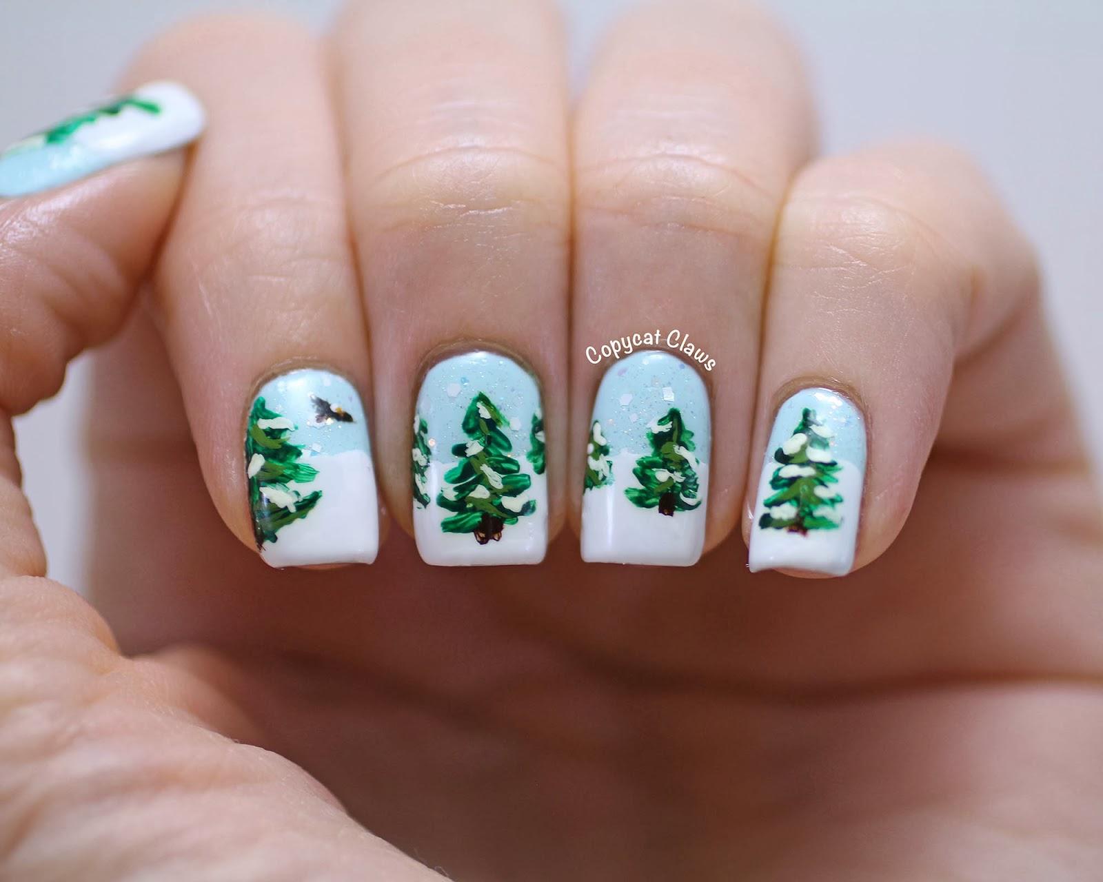 copycat claws winter wonderland nail art. Black Bedroom Furniture Sets. Home Design Ideas