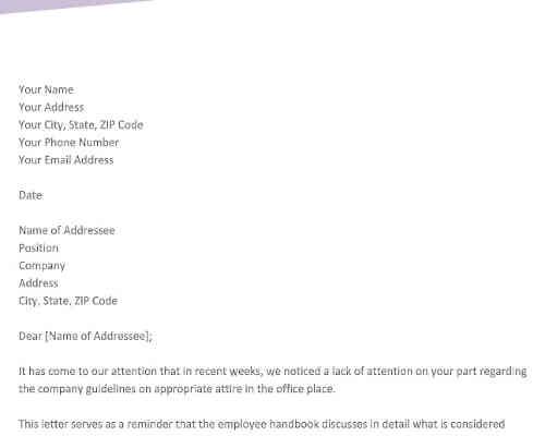 Warning Letter for Dress Code Violation
