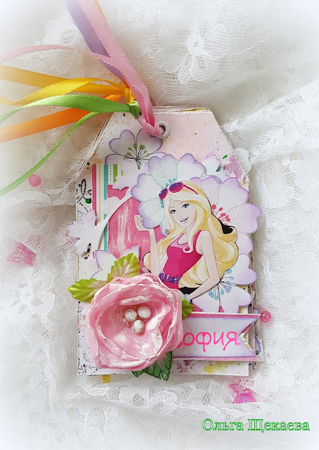 мини-альбом Барби, mini-album Barbie, на тегах, снуля, самодельный фон, детское
