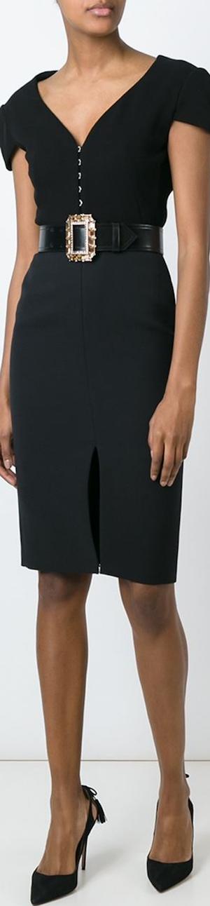 Alexander McQueen V-Neck Dress shown in Black