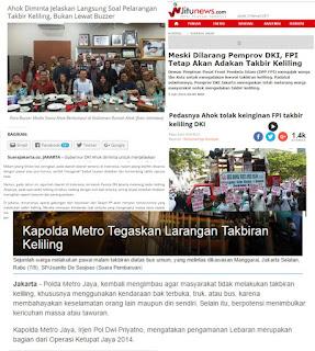Pecahnya Umat Islam dan dibalik Pelarangan Takbiran Keliling di Ibukota Jakarta