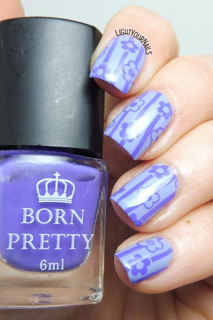 Nail art lilla viola pastello righe e fiori lilac pastel #stamping #nailart #nails #unghie #lightyournails