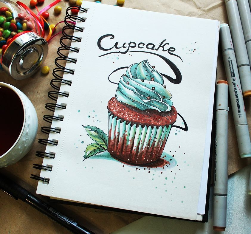 14-stepashkina-Cakes-Pastries-and-Drinks-Food-Art-Drawings-www-designstack-co