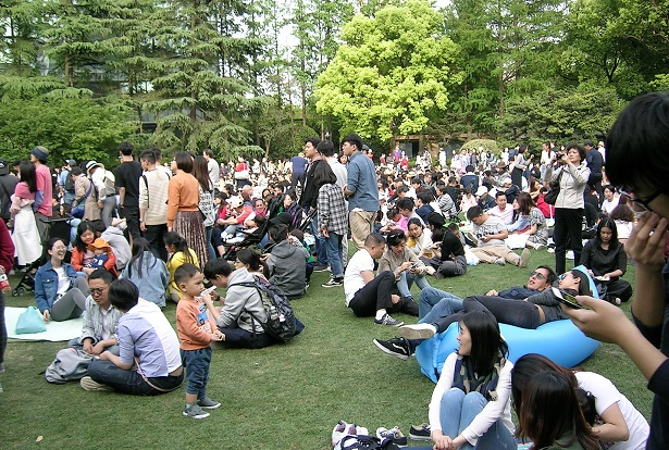 芝生に座って演奏をひたすら待つ観客2