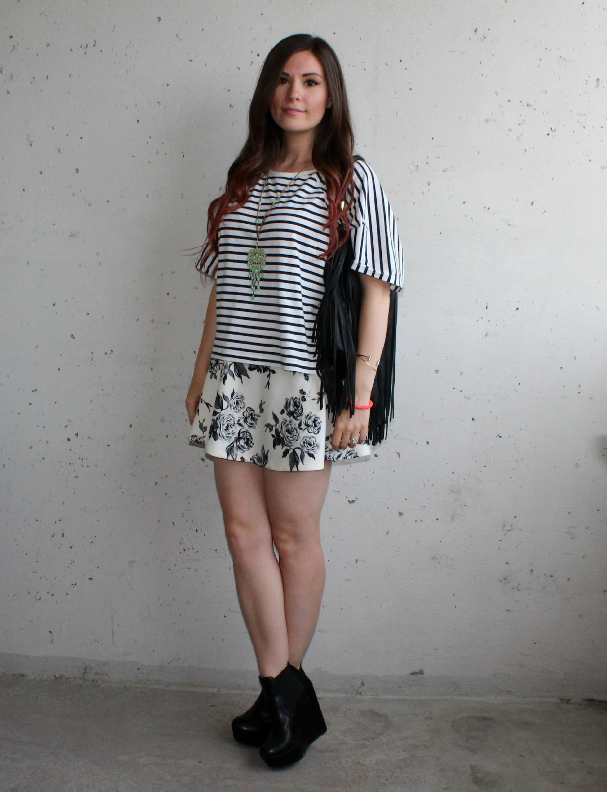 nautical stripe t-shirt, floral skirt, denim shorts, fringe purse, wedge ankle boots