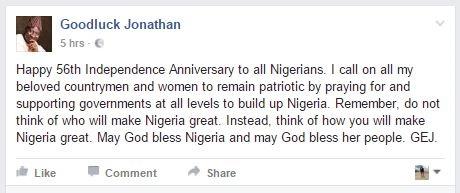 Former President Goodluck Jonathan Writes Heartfelt Message to Celebrate Nigeria's Independence