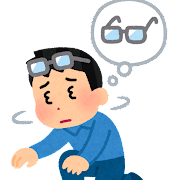 おでこのメガネを探す人のイラスト(男性)
