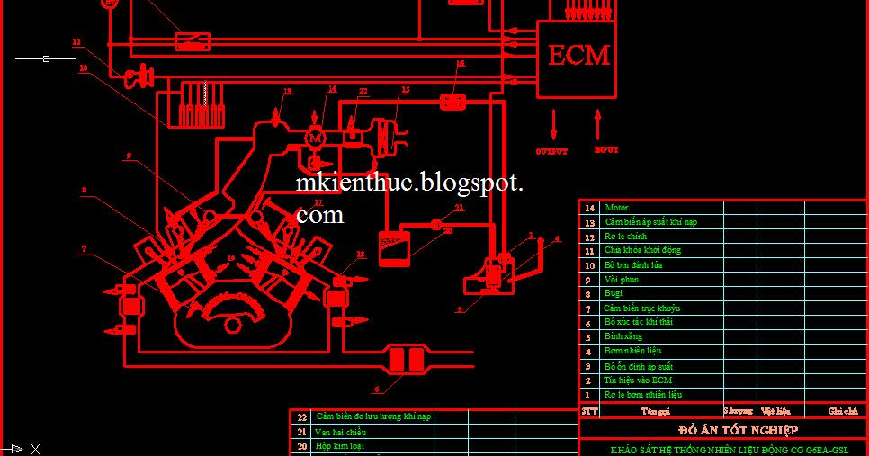 bản vẽ đồ án khảo sát hệ thống nhiên liệu động cơ G6EA-GSL2.7